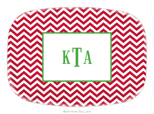 Chevron Red Personalized Platter