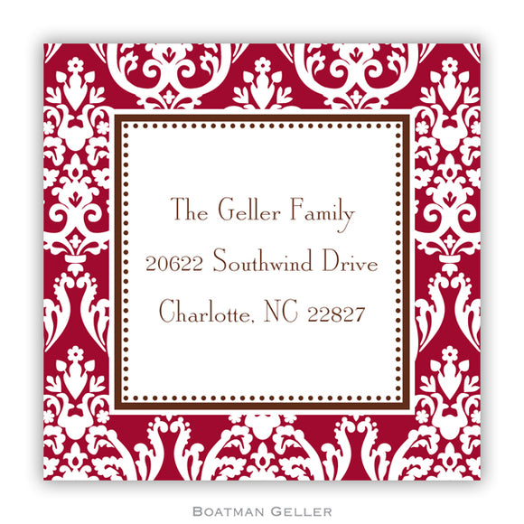 Madison Damask Chocolate Personalized Stickers