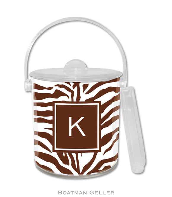 Zebra Brown Ice Bucket