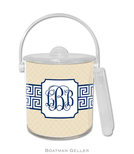 Greek Key Band Navy Ice Bucket