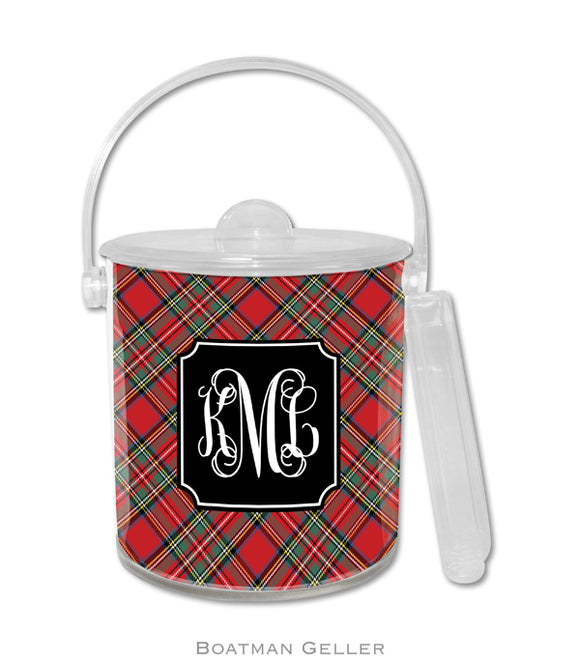 Plaid Red Personalized Holiday Ice Bucket