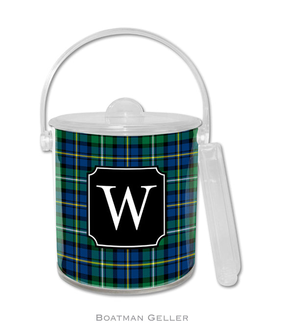 Black Watch Plaid Personalized Holiday Ice Bucket