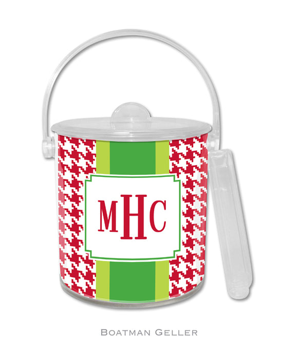 Alex Houndstooth Red Personalized Holiday Ice Bucket