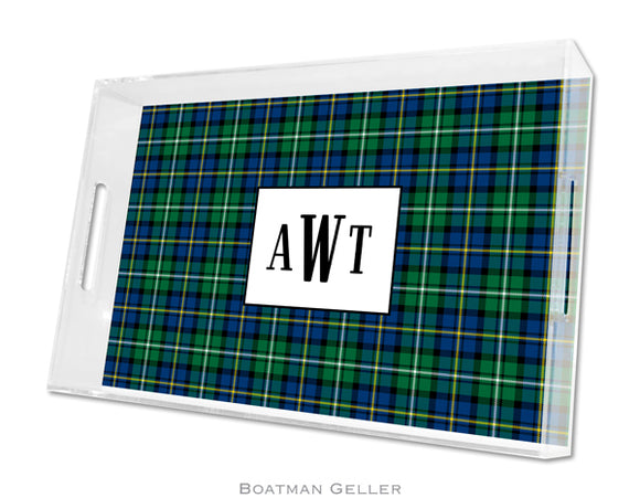 Black Watch Plaid Large Lucite Tray