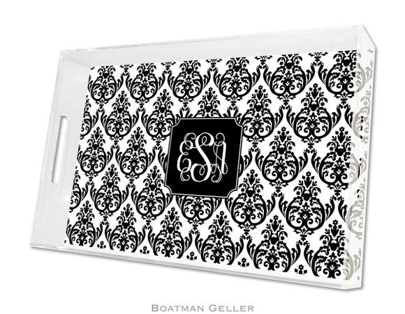 Madison Damask White with Black  Large Lucite Tray