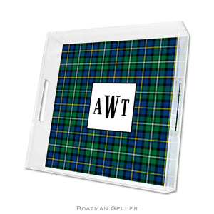 Black Watch Plaid Square Lucite Tray