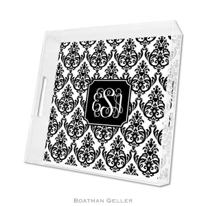 Madison Damask White with Black Square Lucite Tray