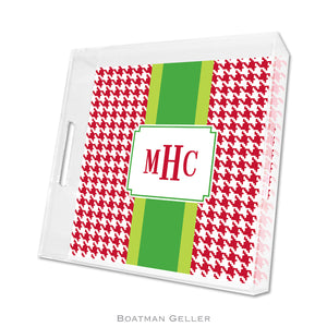 Alex Houndstooth Red Square Lucite Tray