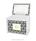 Madison Damask White with Black Personalized Recipe Box & Cards