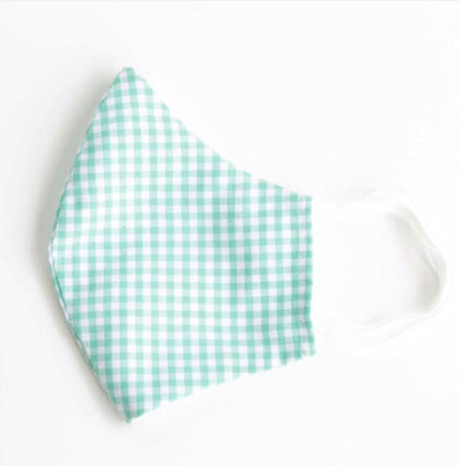 Face Mask with Filter - Green Gingham