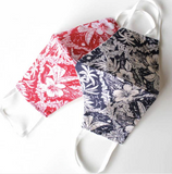 Face Mask with Filter - Hawaiian Print Navy Blue