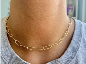 Paper Clip Link Necklace - Gold