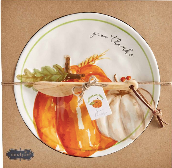 Give Thanks Pumpkin Cheese Platter Set