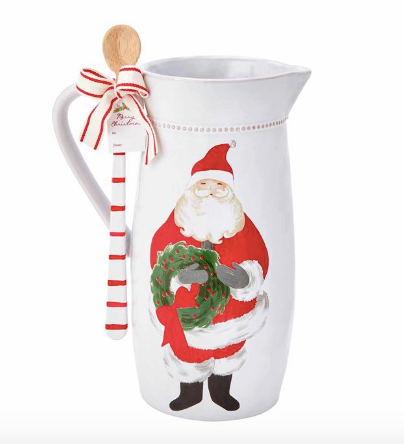 Santa Wreath Pitcher Set