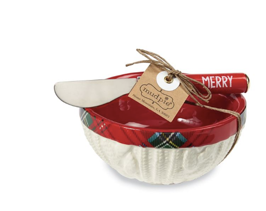 Red Tartan Dip Bowl Set