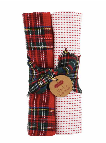 Red Plaid Waffle Towel Gift Set