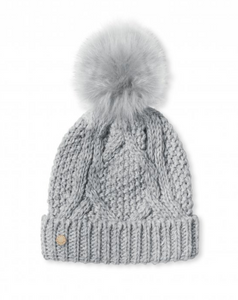 Cable Knit Bobble Hat - Charcoal Gray