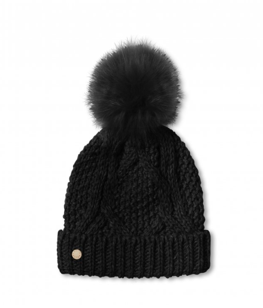 Cable Knit Bobble Hat - Black