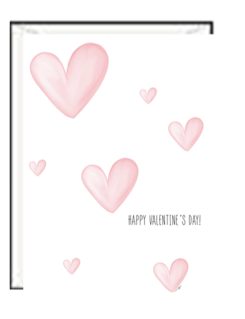 Pink Hearts Valentine Greeting card