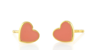 Petite Heart Enamel Stud Earrings