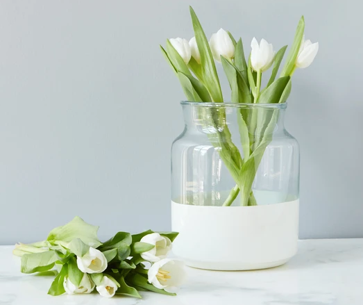 White ColorBlock Mason Jar Vase Small