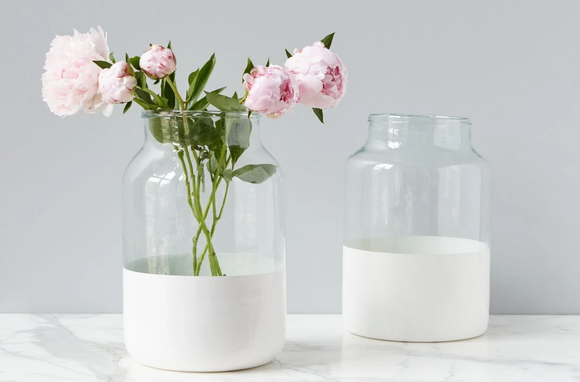 White Colorblock Mason Jar Vase - Medium