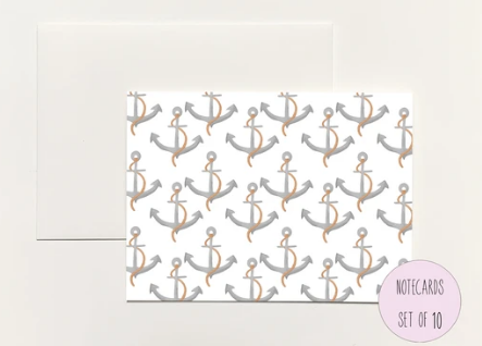 Anchor Pattern Foldover Notecard