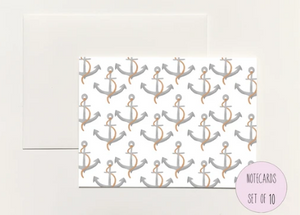 Anchors Pattern Boxed Notecards
