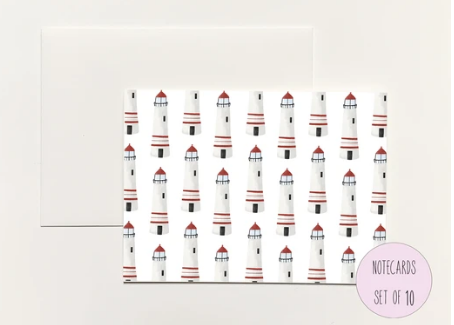 Lighthouse Pattern Foldover Notecard
