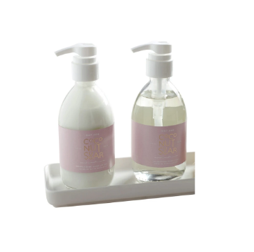 Glass Shea Lotion & Hand Soap Set in White Tray - Coconut Sugar