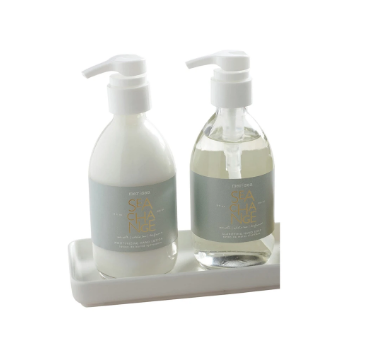 Glass Shea Lotion & Hand Soap Set in White Tray - Sea Change