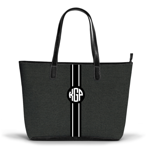 The S Zippered Tote Graphite Chmabray