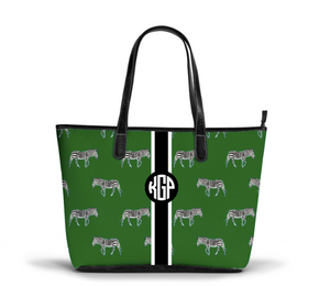 S Zippered Tote Zebra Pattern
