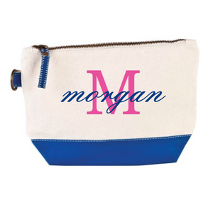 Navy Blue Bottom Canvas Cosmetic Tote