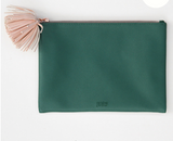 Green and Pink Pom Tassel Zip Pouch
