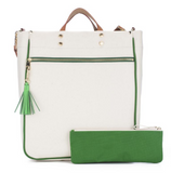 Canvas Tote Piped in Green
