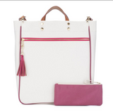 Canvas Tote piped in PInk