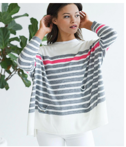 Travel Sweater Mini Pocket White/Grey and Pink Stripe