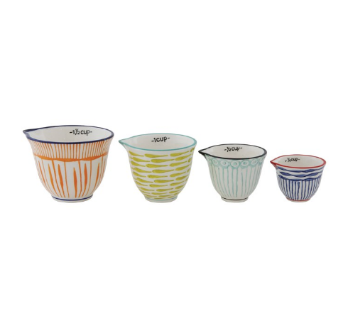 Hand Painted Stoneware Measuring Cups w/Stripes