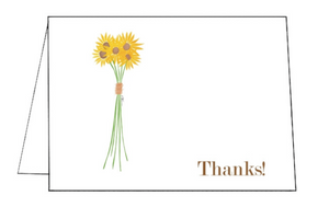 Sunflower Folded Notecard Thank you