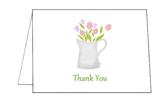 Watering Can Folded Notecard Thank You