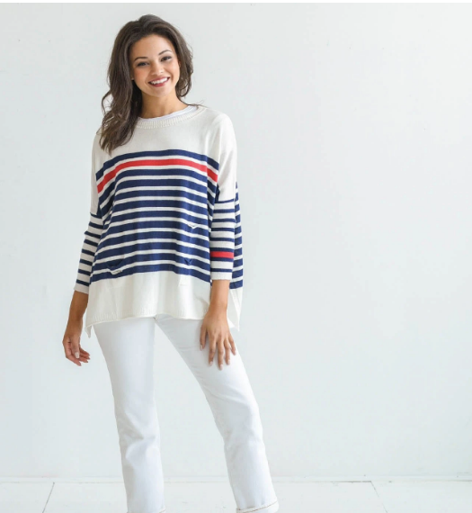 Catalina Sweater - White/Navy and Red Stripe