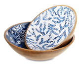 Indigo Wood and Enamel Bowl - Large
