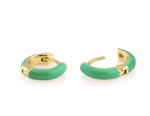 Enamel Huggie Hoop Earrings - Turquoise