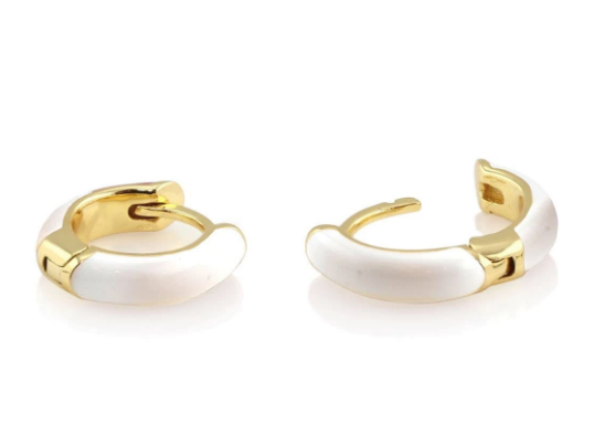 Enamel Huggie Hoop Earrings - White
