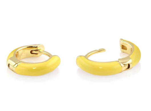 Enamel Huggie Hoop Earrings - Yellow