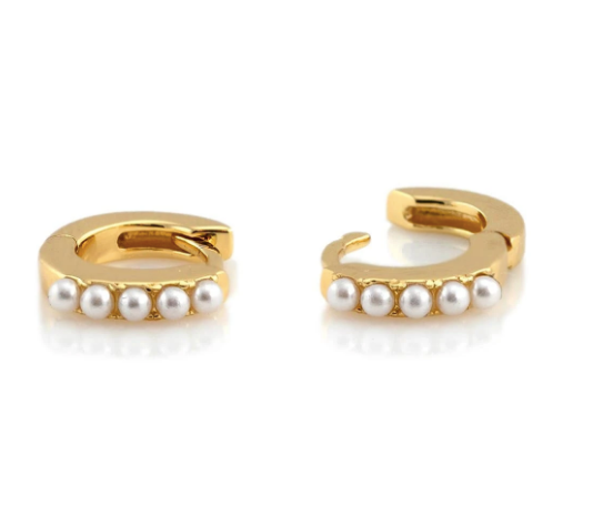 Pearl Huggie Hoop Earrings - Gold