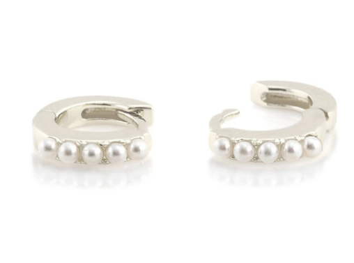 Pearl Huggie Hoop Earrings - Silver