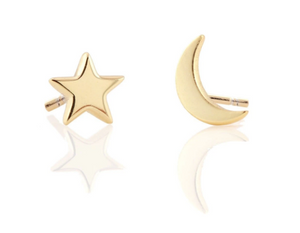 Star + Moon Stud Earrings