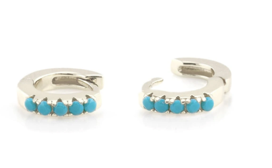 Turquoise Huggie Hoop Earrings  - Silver